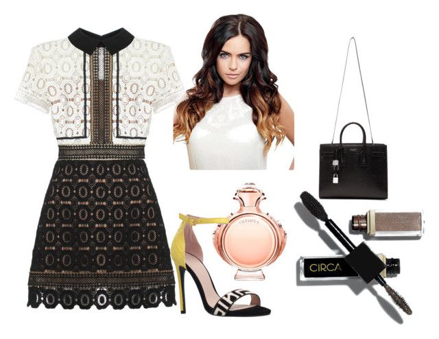 """Untitled #1593"" by doinacrazy ❤ liked on Polyvore featuring moda, Paco Rabanne, KG Kurt Geiger, self-portrait y Yves Saint Laurent"