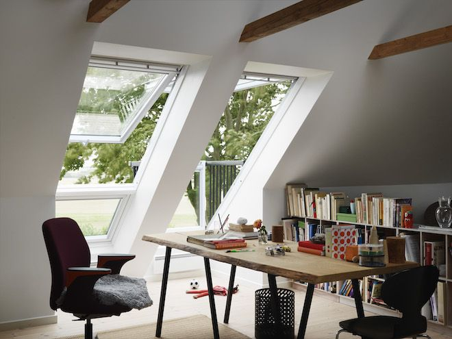 Velux uitklapbaar balkon zolder dakramen daglichtsystemen