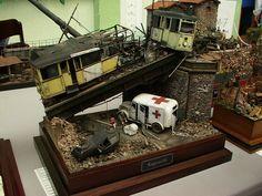 Trams & Ambulance 1/35 Scale Model Diorama