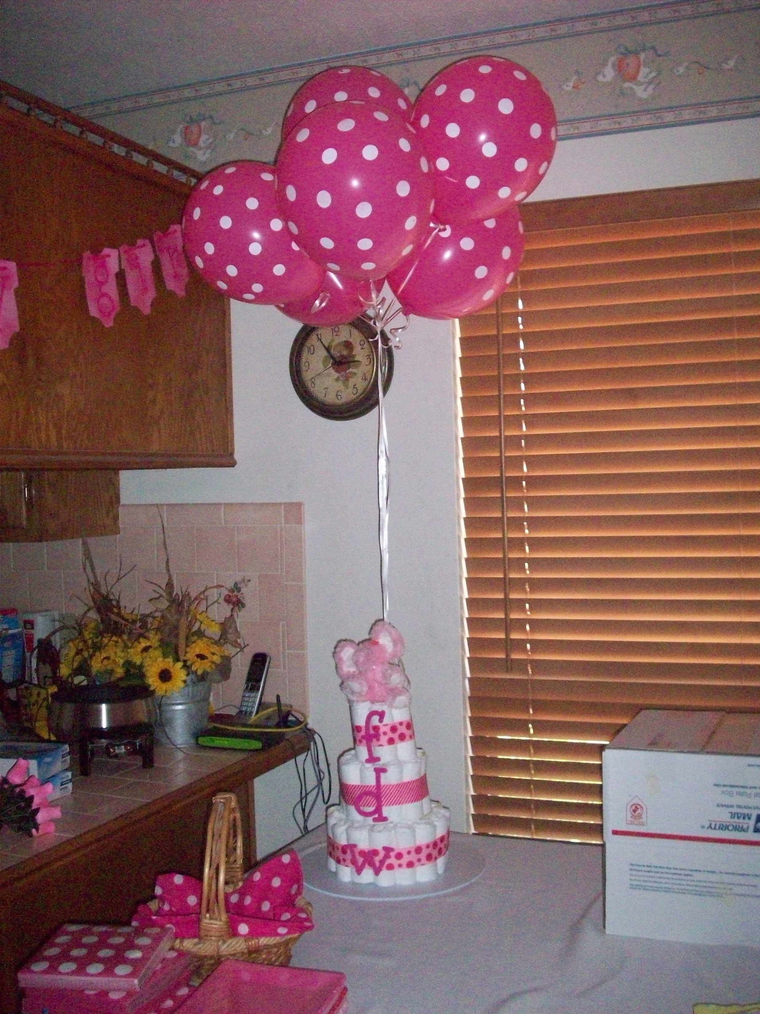 Diaper cake with pink elephant balloon bouquet topper for Pink diaper bouquet