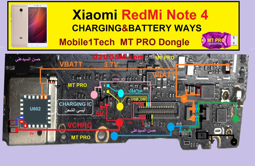 Xiaomi Redmi Note 4 Battery Connector Terminal Jumper Ways