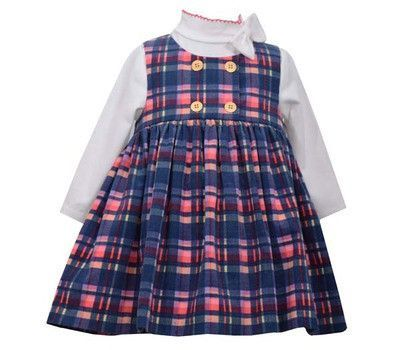 Toddler Girls Navy Plaid Corduroy Jumper by Bonnie Jean, Sizes 2T-4T
