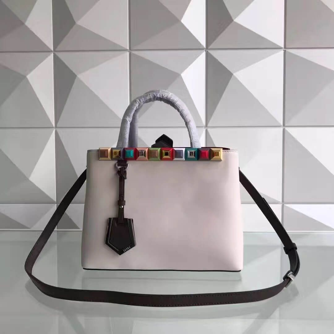 40938438f5e2 Fendi Calfskin 2Jours Bag With Multicoloured Studs Pale Pink 2017 ...