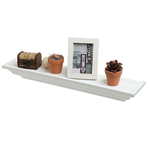 235 Inch Decorative White Crown Molding Wood Wall Mounted Floating Shelf Mygift Floating Shelves Shelves Wood Wall