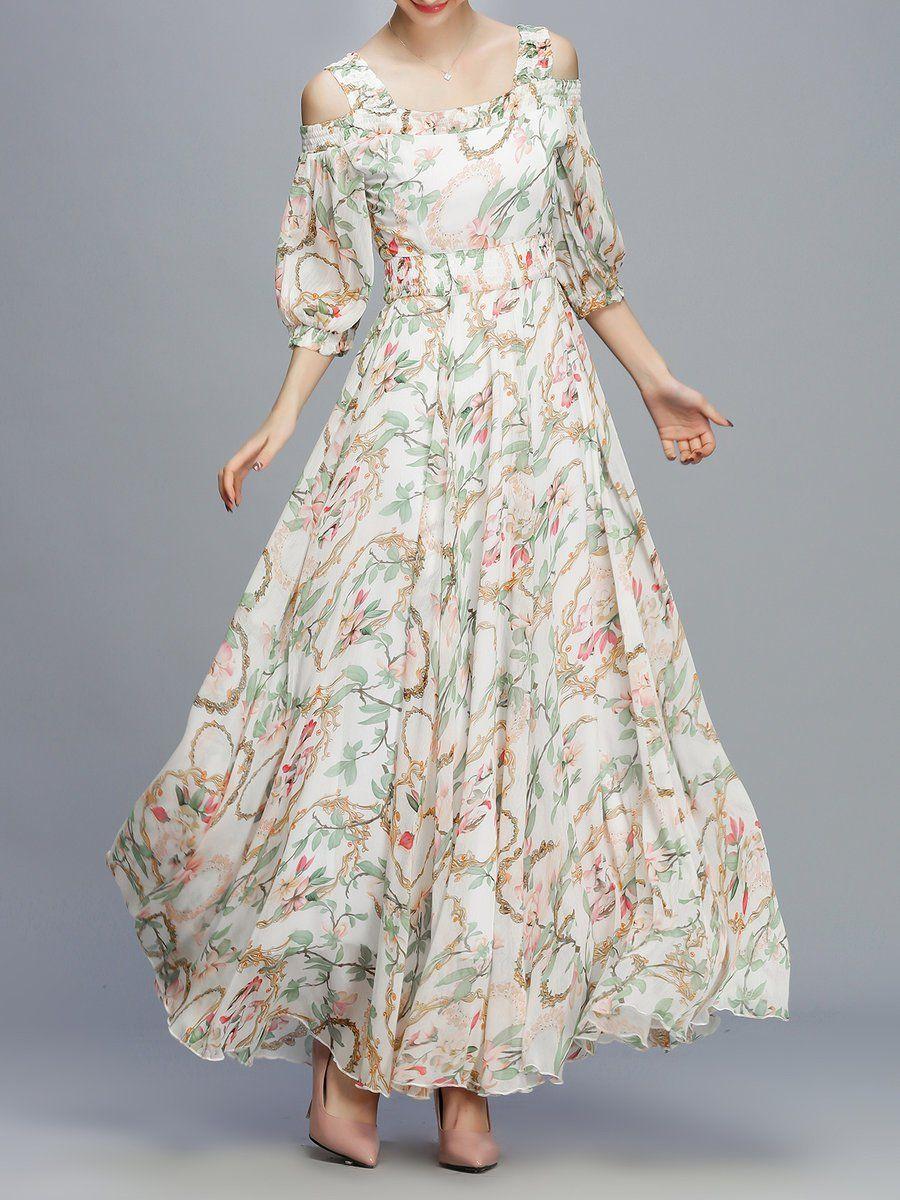 967caaebf #AdoreWe #StyleWe Designer Maxi Dresses - Designer DIYA Apricot Cold  Shoulder Square Neck Floral Print Maxi Dress - AdoreWe.com