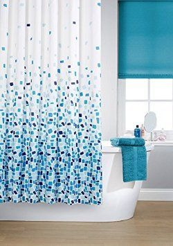 Vibrant Mosaic Blue On A White Background Polyester Shower Curtain Including 12 Rings By Waterline