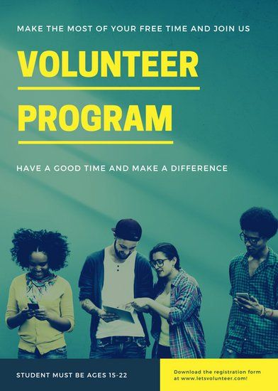 yellow blue green photo modern students volunteer flyer design