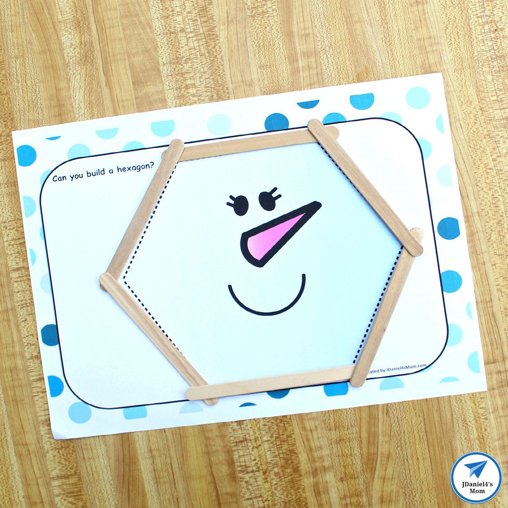 Building Shapes Stem Snowman Activity This Mat Features A