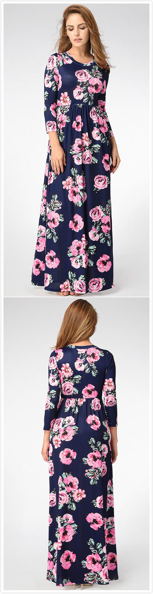 Bohemian long sleeve floral printed maxi prom dress modest fashion