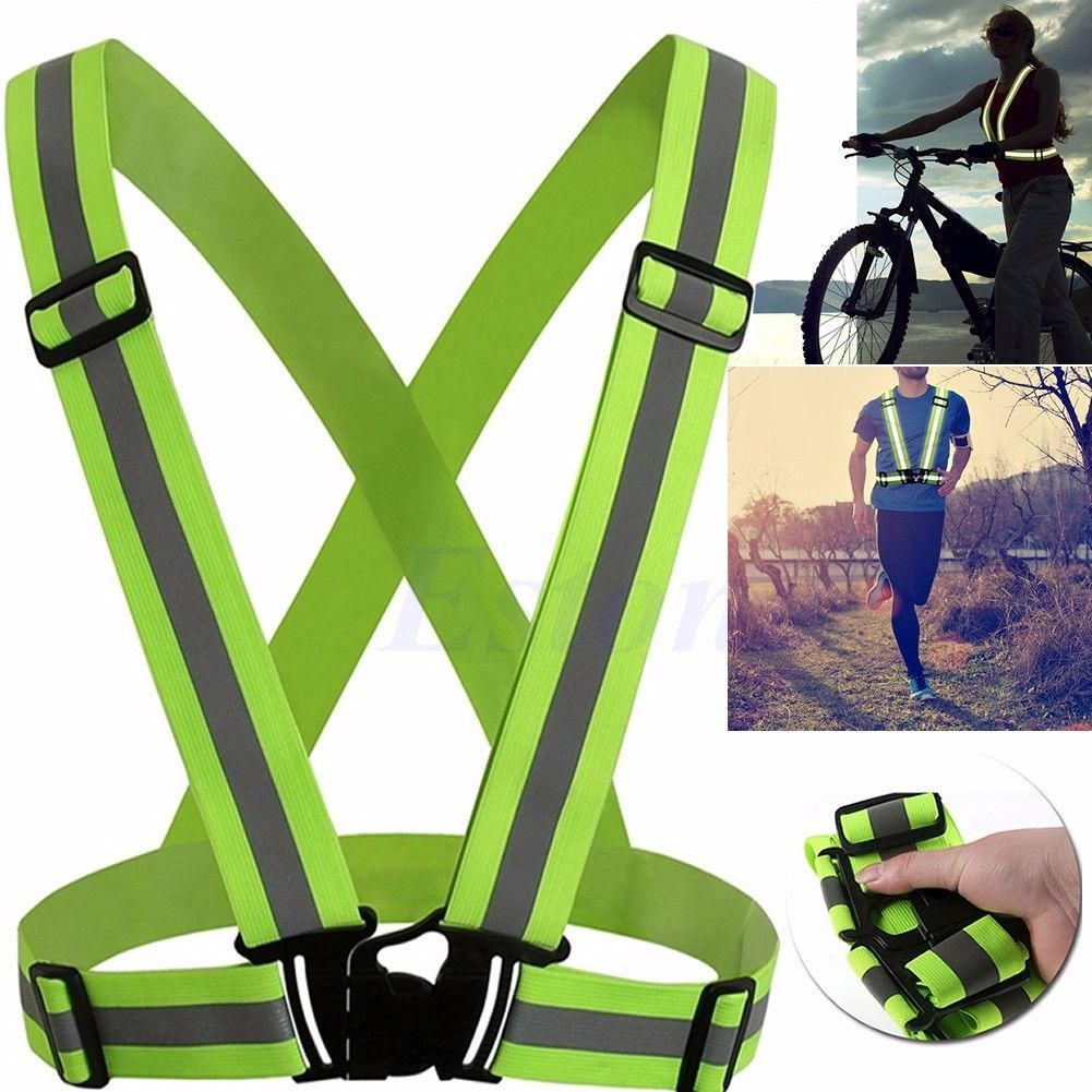 2 lights Outdoor Reflective Safety Vest with LED Light High Visibility for Night Running Cycling LED Light Safety Vest