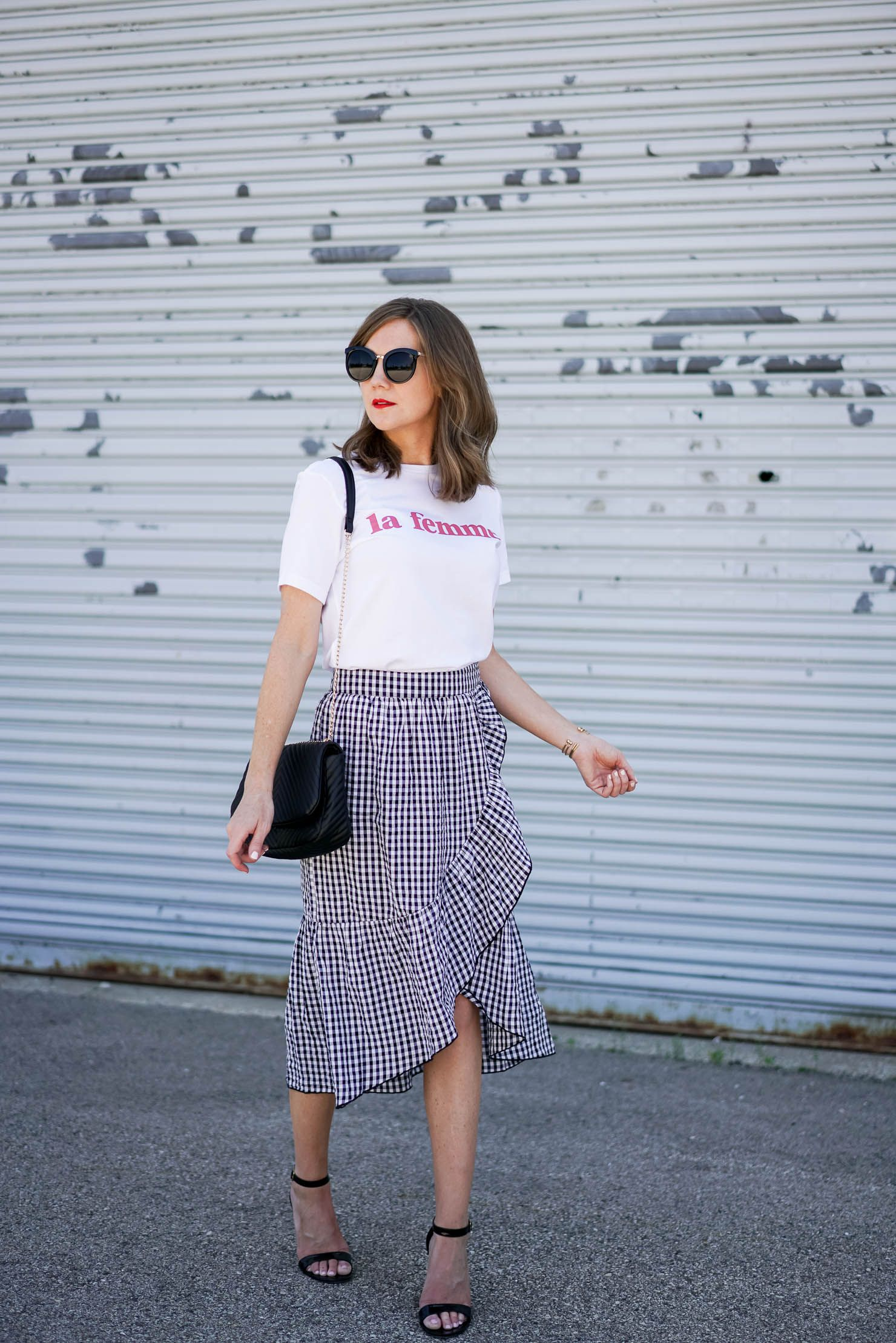 10fb6b7a21 Parisian chic, gingham ruffled midi skirt, la femme tee easy, parisian  inspired outfit, how to dress like a french girl, black and white gingham  midi skirt