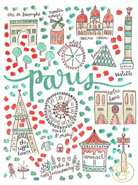 for the kids paris map print by evelynhenson on etsy
