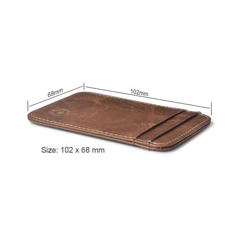 02ef3f58dfdf 3.52AUD - Genuine Leather Mens Small Id Credit Card Wallet Holder Slim  Pocket Case Brown  ebay  Fashion