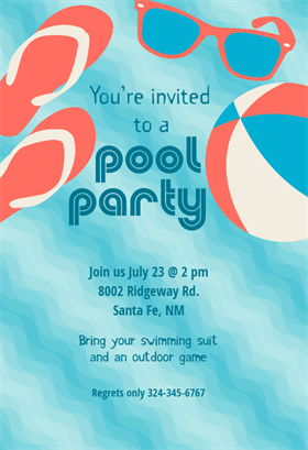 Pool Party Stuff printable invitation template. Customize, add text and photos. Print, download, send online or order printed!