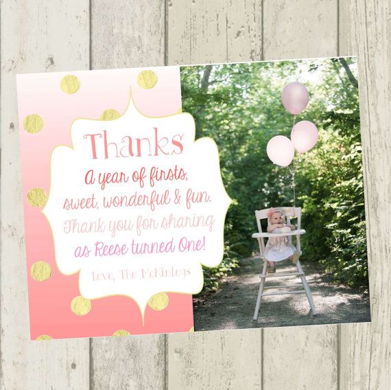 Say thank you to your little girls first birthday party guest with – First Birthday Thank You Cards