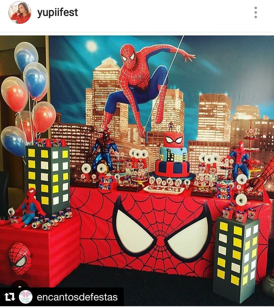 SpiderMan Birthday Party Dessert Table and Decor Spiderman