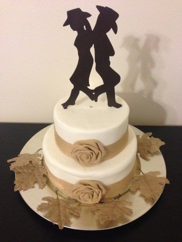 The Cowboy And Cowgirl Wedding Cake Topper Is Made From 16 Ga Steel Painted Black