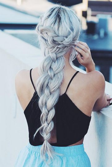 Gorgeous thick voluminous braid created with custom colored Ash Blonde Luxy Hair Extensions. Love how @kirstenzellers created this voluminous hairstyle by mixing different braids together!  Photo by: https://instagram.com/p/8wATW9Iry9/?taken-by=kirstenzellers  #LuxyHairExtensions
