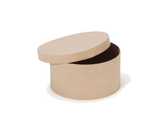 Round Paper Mache Cardboard Box  8 Inch  by CharmiosCraftParty