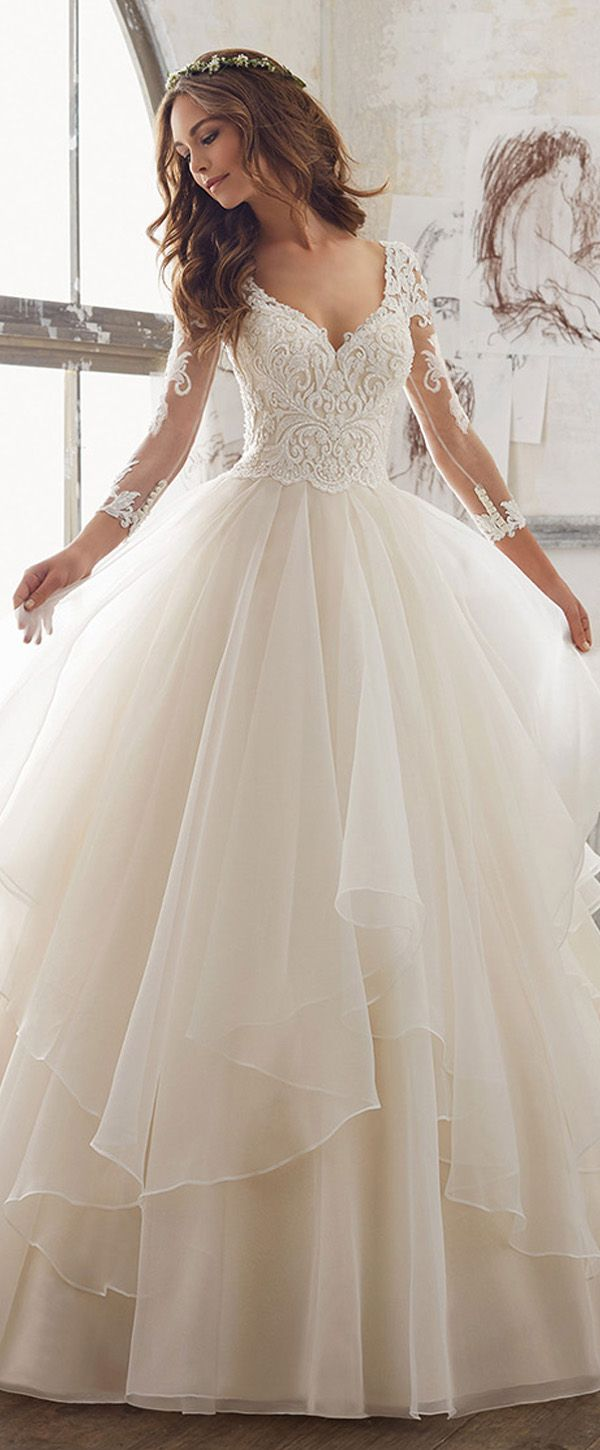 Lavish Tulle & Organza V-Neck A-Line Wedding Dresses With Embroidery ...