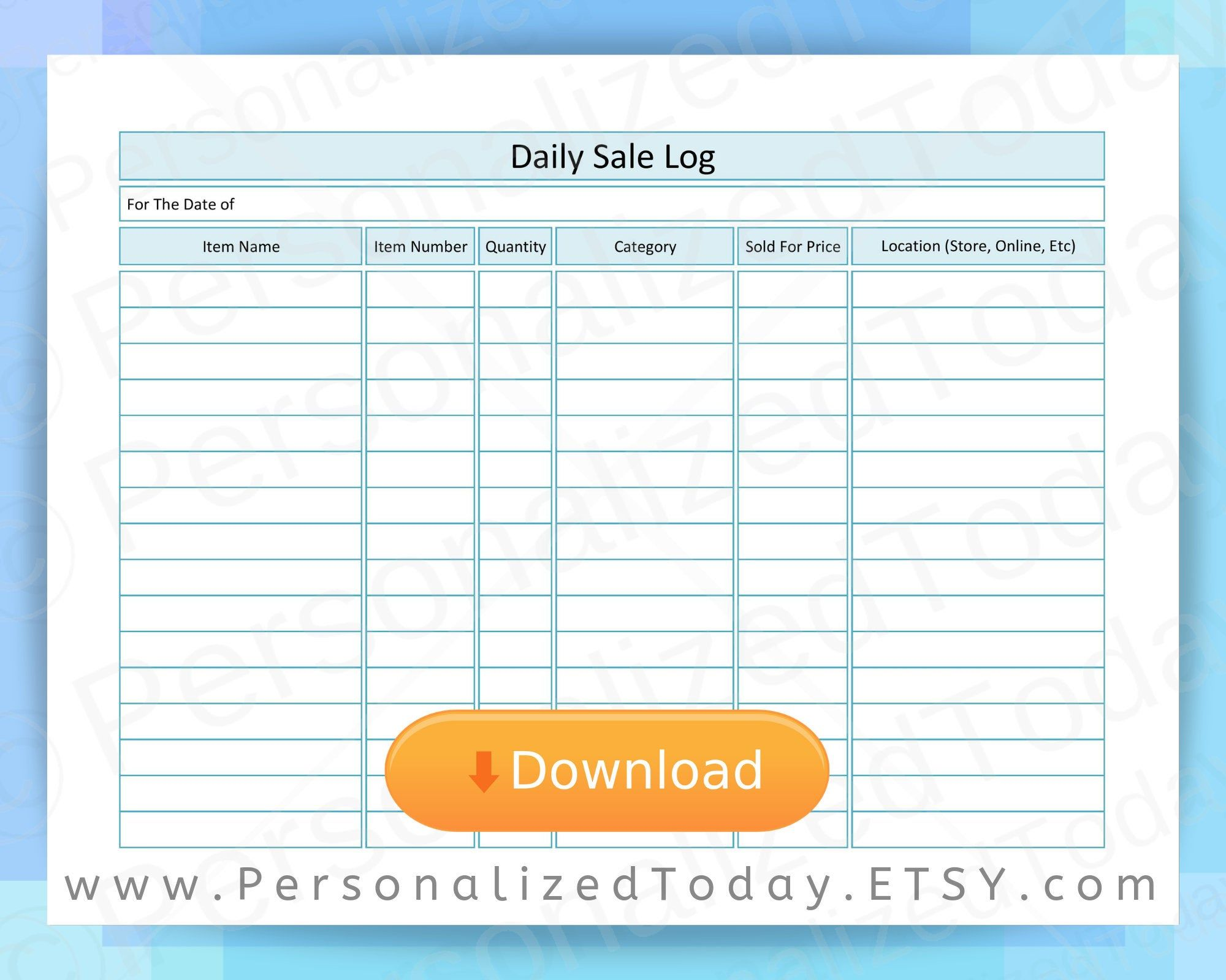 Daily Sales Log Sheet Printable Track Inventory Goods And Etsy In 2021 Product Sales Sheet Sales Tracker Inventory Printable