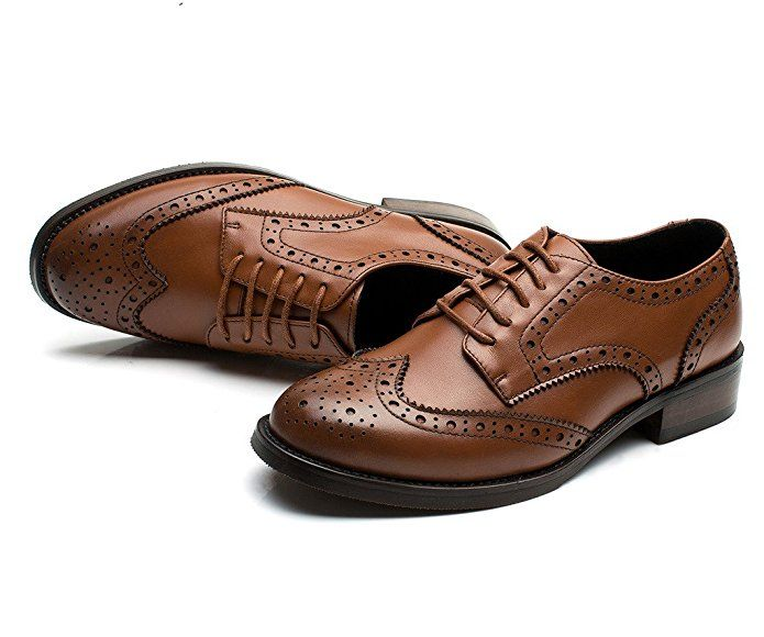 Amazon.com | U-lite Brown Brogues Lace-up Wingtip Leather Flat Oxford
