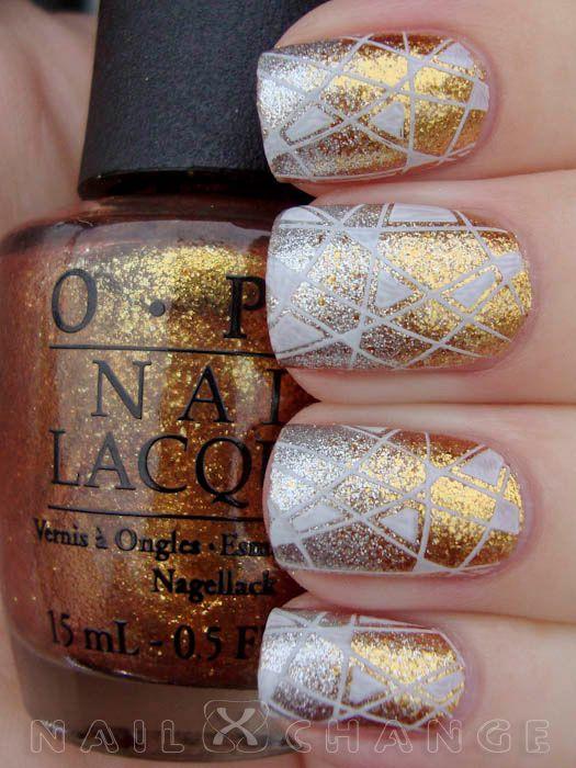 OPI Golden eye gradient stamping plate mash 47   Nail Art ...