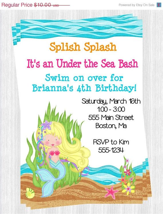 Mermaid Under The Sea Invitations Wording Kids Birthday Ideas