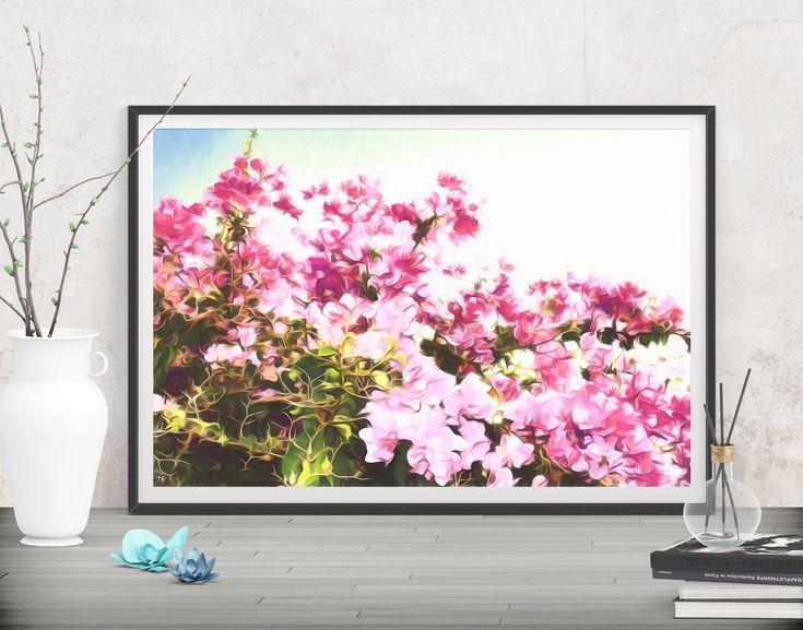 Printable boho floral art print, Pink flower photo digital print ...