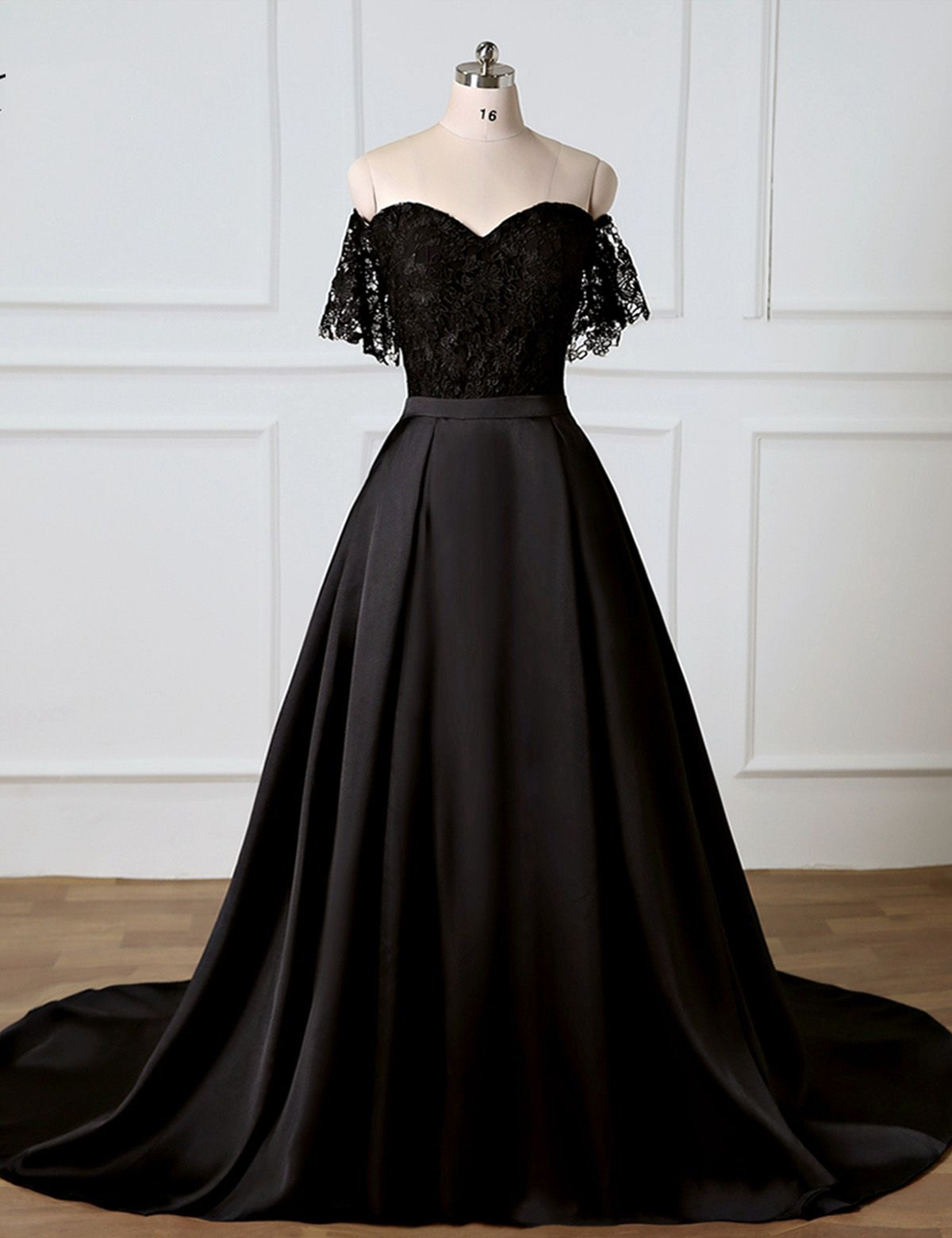 aabe07cb611 Sweetheart Black Lace Off Shoulder Long Prom Dress With Removable Skirt   promdress  prom  dress