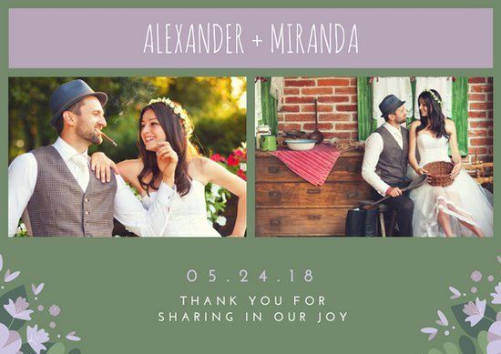 Collage Wedding Thank You Card Free Template