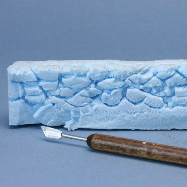 Make scale model stone walls from recycled styrofoam and