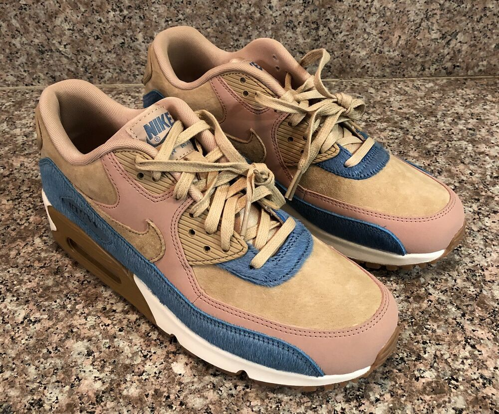 Nike Womens Air Max 90 LX Pony Hair Beige Pink Tan Blue