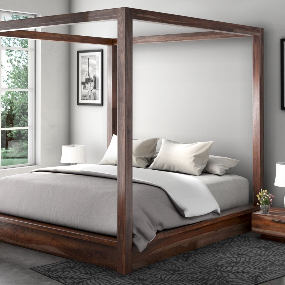 Delaware Solid Wood Platform Bed Frame: Hampshire Rustic Solid Wood King Size Canopy Bed