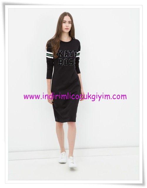 Koton Siyah Yazi Baskili Genc Kiz Elbise 20 Tl Elbise Kiz Elbiseleri Siyah Spor
