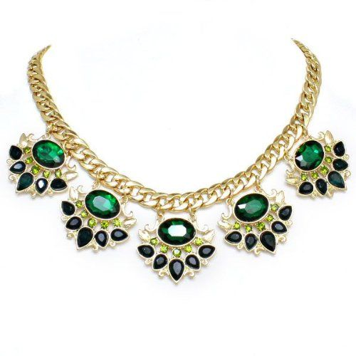 Chunky Emerald Green Crystal Gold Link Formal Statement Necklace