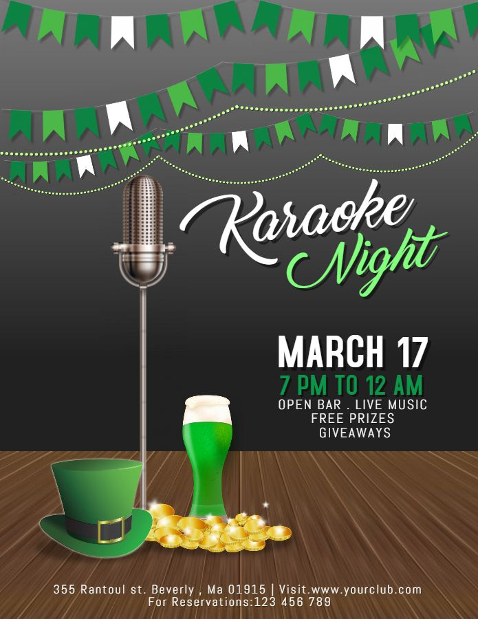 St Patricku0027s Day Karaoke Night Flyer Template   Grey And Green
