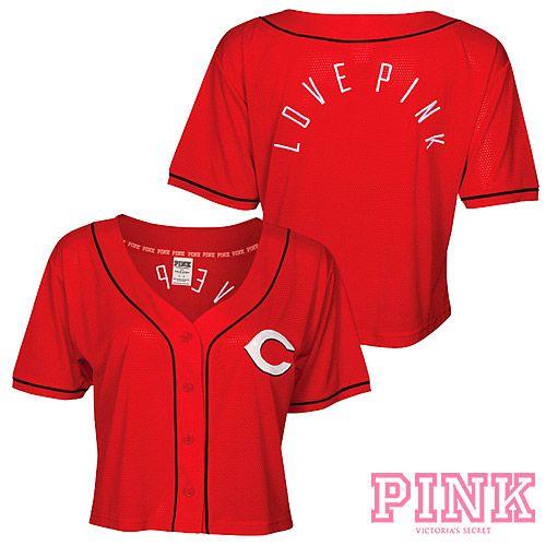 e239705629981 Cincinnati Reds Victorias Secret PINK® Crop Baseball Jersey | 21st ...