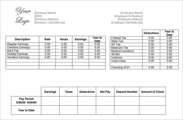 Free Payroll Stub Template 10 Pay Stub Templates  Free Printable Word Excel & Pdf .