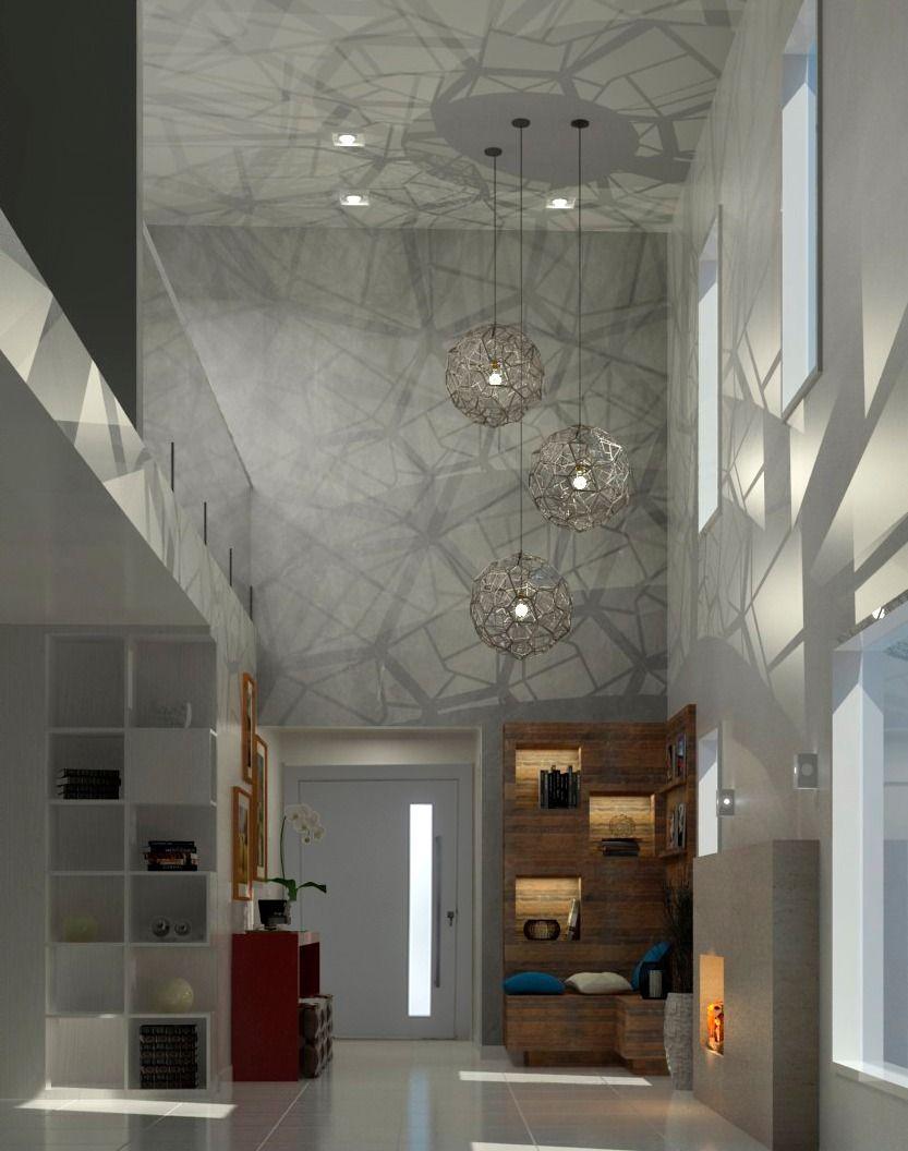 Projeto Da Sala E Hall Da Casa Com Parede De Cimento E Lustre  -> Parede De Sala Diferente