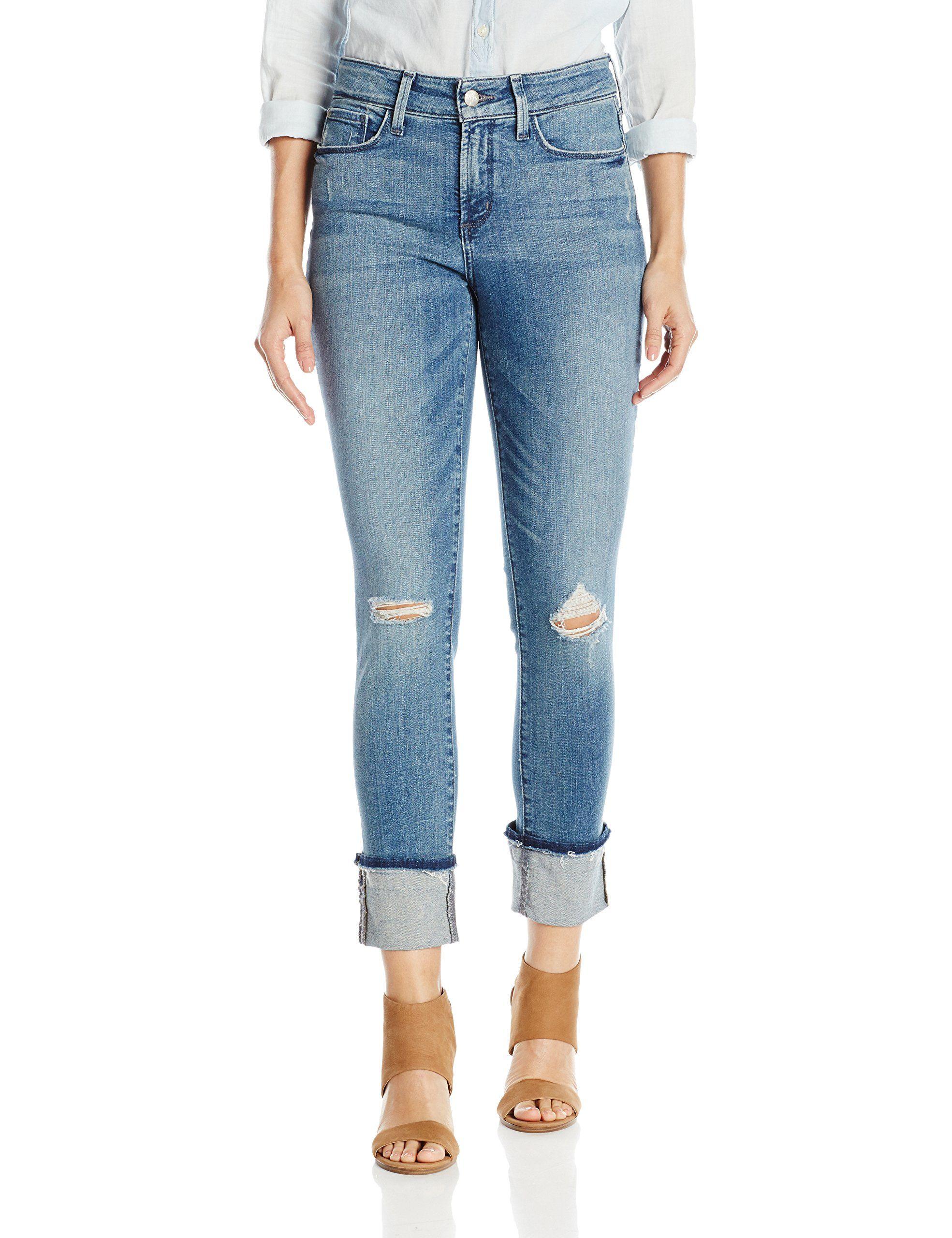 NYDJ Women's Alina Wide Cuff Skinny Ankle Jeans with Frayed Hem, Paloma Rips, 12