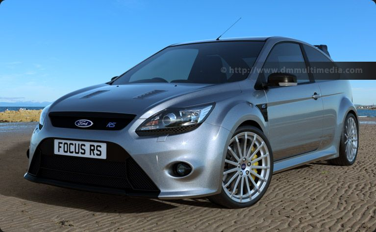 Ford Focus Mk2 Rs In Silver In The Early Morning Sun On The Beach
