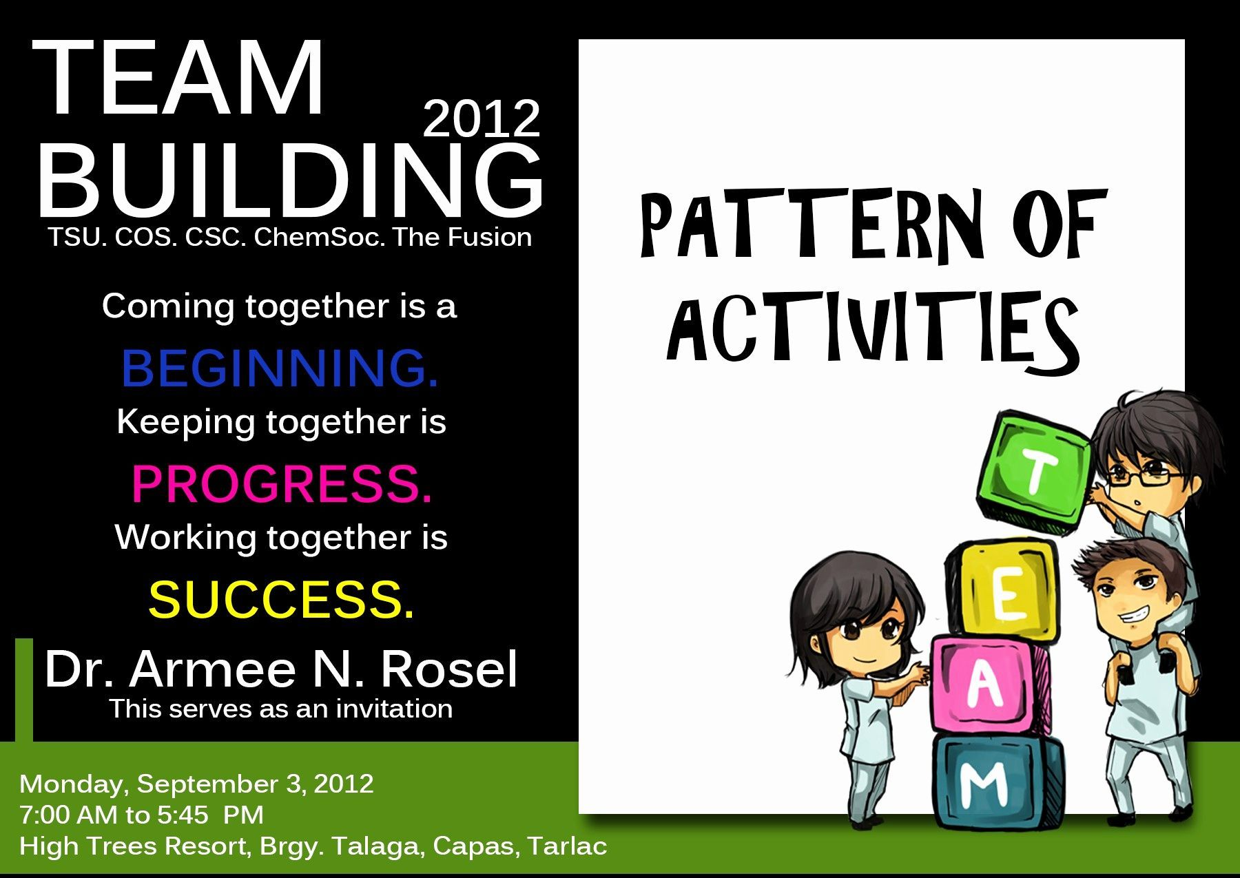 team building event invitation wording