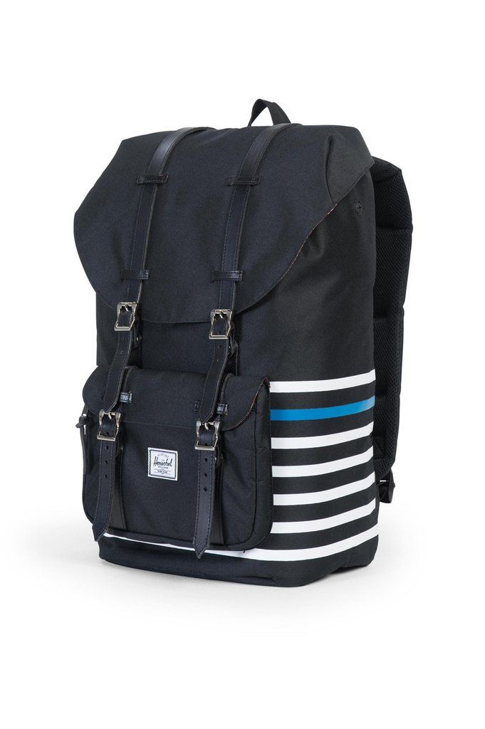 80effd0a49f The Offset Herschel Little America backpack combines mountaineer styling  with the timeless aesthetic of classic nautical stripes and premium  finishes.