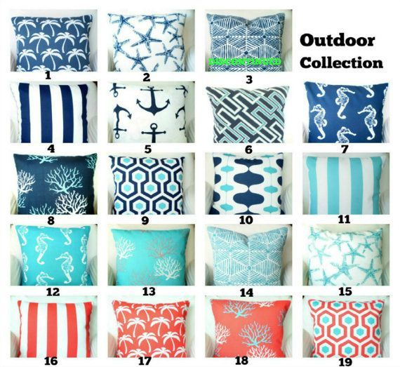 OUTDOOR Pillow Covers, Coral Aqua Navy Blue, Decorative Throw Pillows, Nautical Pillows, Beach Decor One or More Mix & Match All Sizes