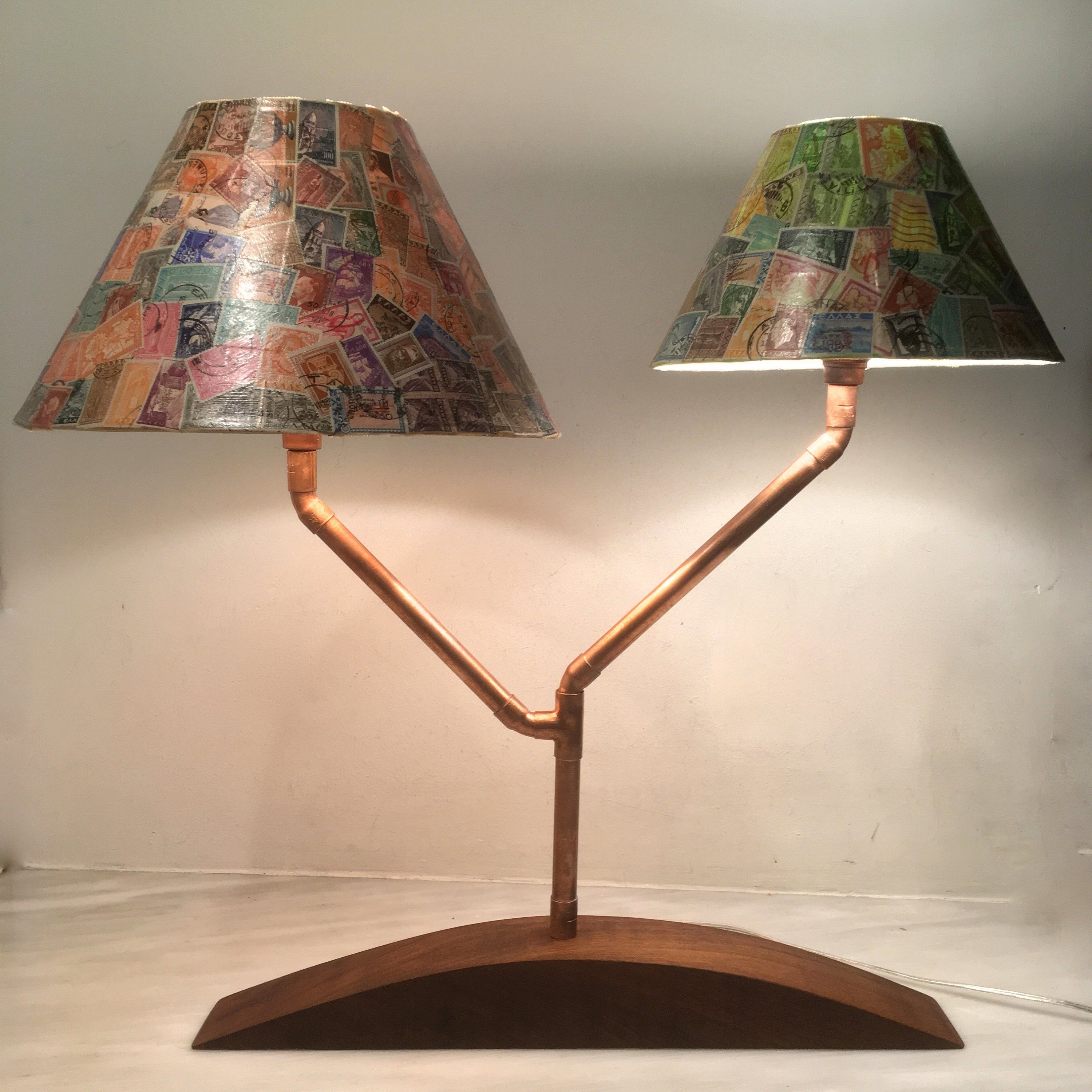 Table Lamp Desk Lamp Bedside Lamp Copper Lamp Iroko Wood