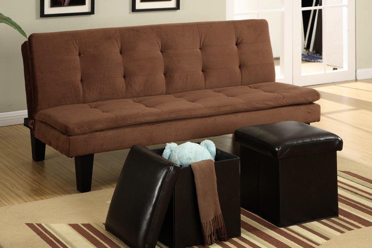 Chocolate Microfiber Adjustable Sofa with 2 Storage Ottomans
