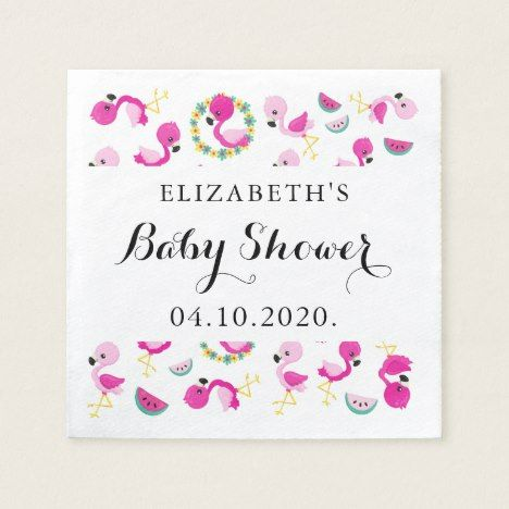 Baby Shower - Tropical Pattern, Flamingos, Flowers Napkin | Zazzle.com #tropicalpattern