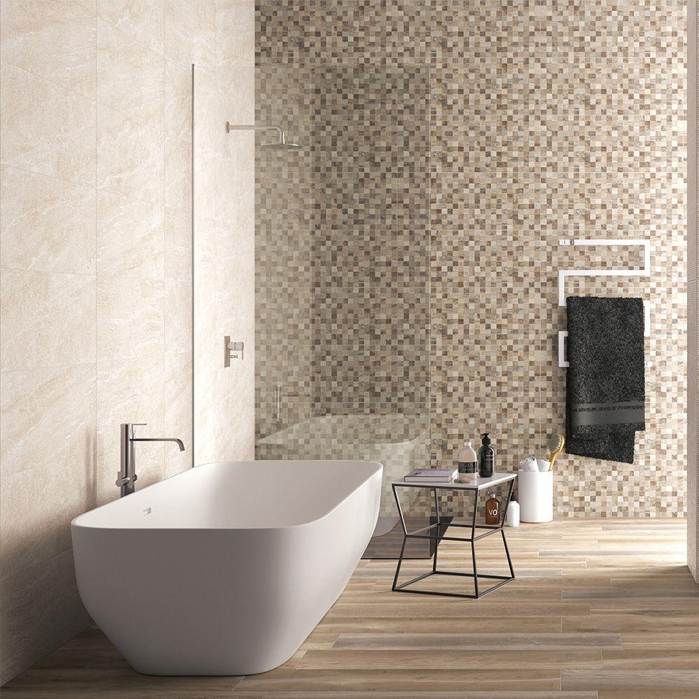 Mosaique Decorative Effet Pierre 32x80 5 Taupe 3d Collection Lithos De Naxos Carrela Salle De Bains Beige Et Blanc Salle De Bain Salle De Bains Meubles Bois