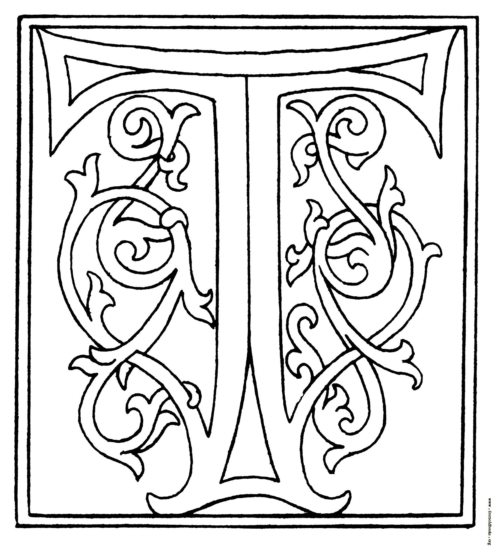 alphabet graphics clipart initial letter t from late 15th century printed book image